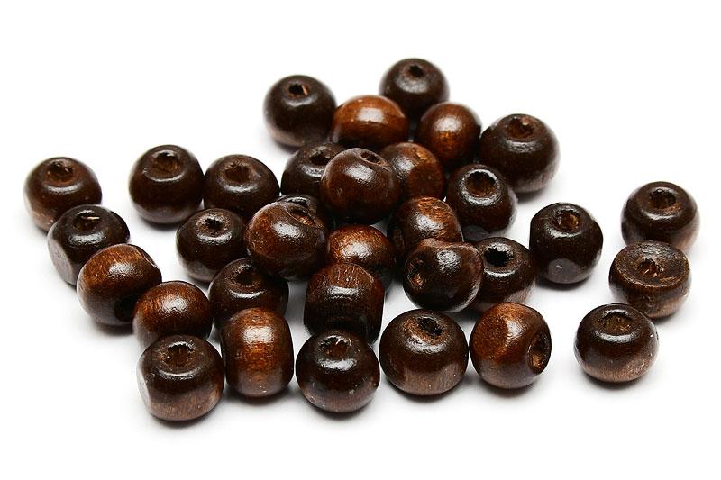 Träpärlor Mörkbrun 7mm