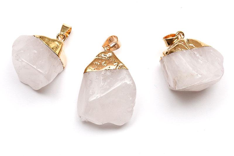 Hänge Vit bergskristall med guldfäste