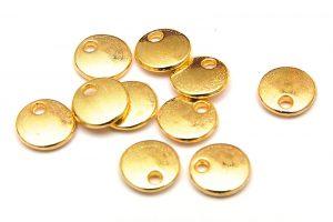 Tags, små runda guldpläterade, 10st