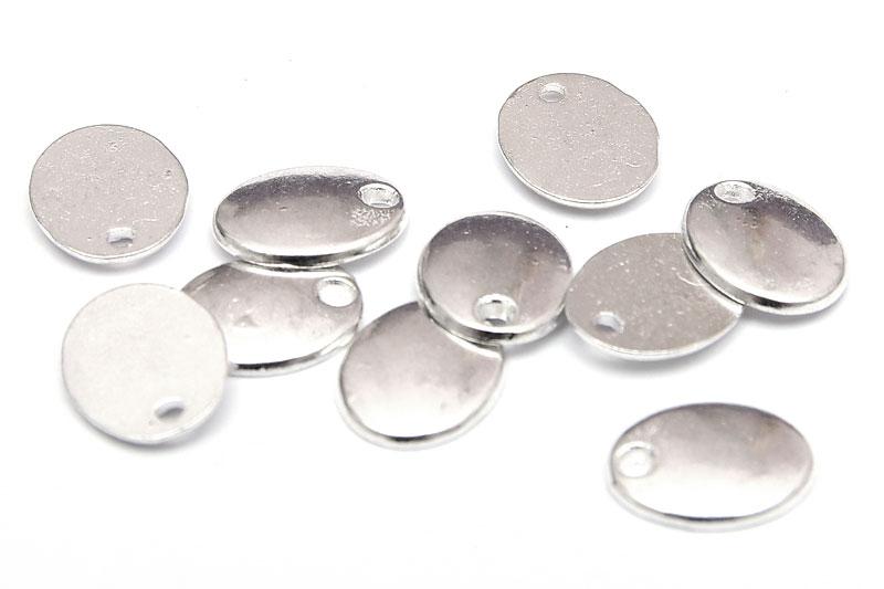 Silverpläterade ovala små tags 10st