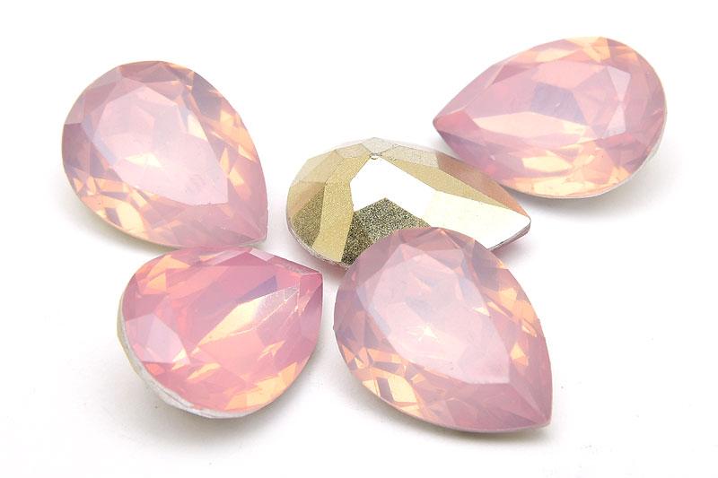 Cabochon med opaleffekt, Droppe, Rosa 18x12mm