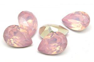 Cabochon med opaleffekt, Droppe, Rosa 14x10mm