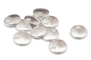 Tags, små runda silverpläterade, 10st