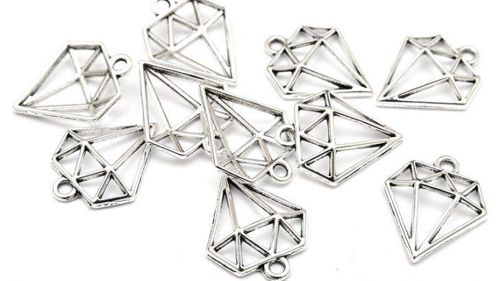 Antiksilver berlocker Diamanter 10st