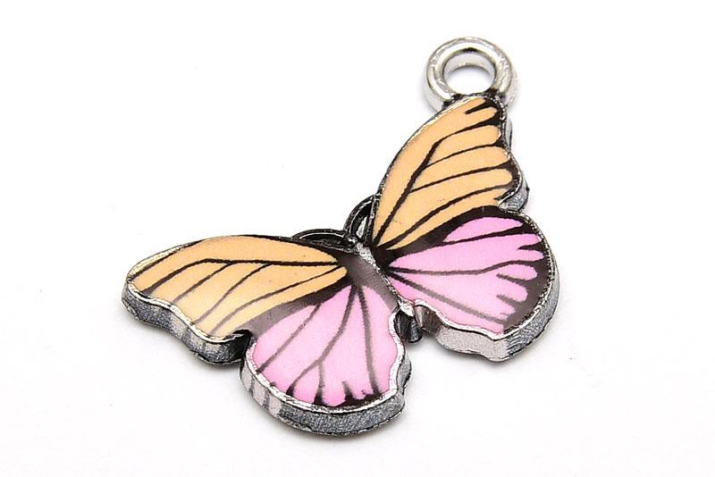 Antiksilver berlock Fjäril, med emalj Rosa/Gul