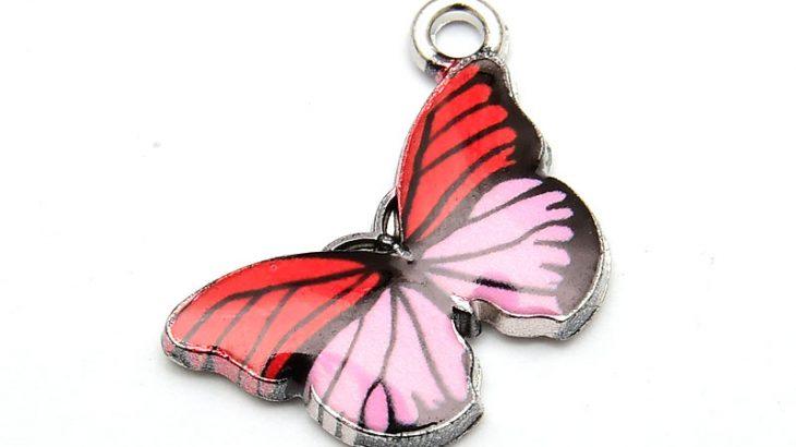 Antiksilver berlock Fjäril, med emalj Rosa/Röd