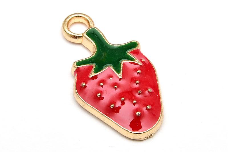 Emaljerad jordgubbe ljus guld