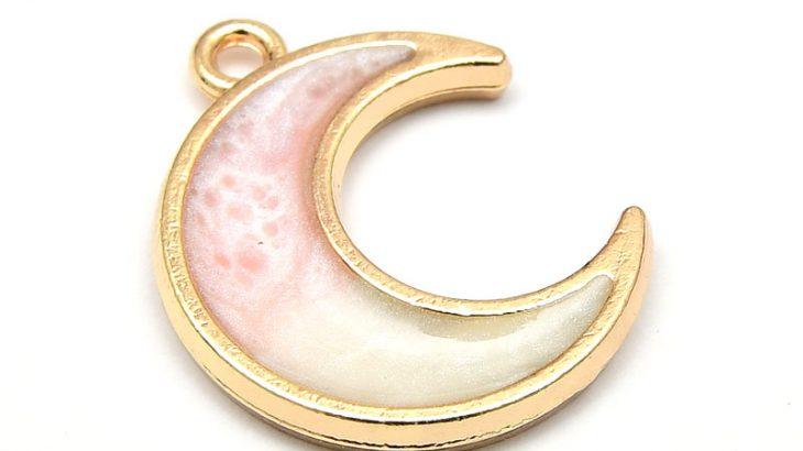 Emaljerad berlock, Måne rosa/vit, Ljus guld