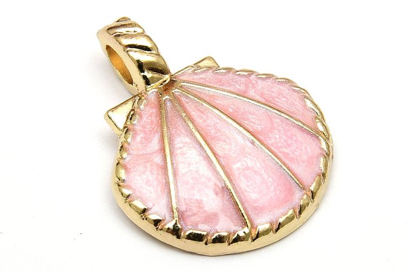 Emaljerad berlock, Snäckskal Rosa, Ljus guld