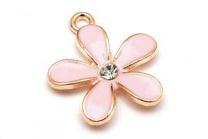 Emaljerad berlock, Rosa blomma med strass, Ljus guld