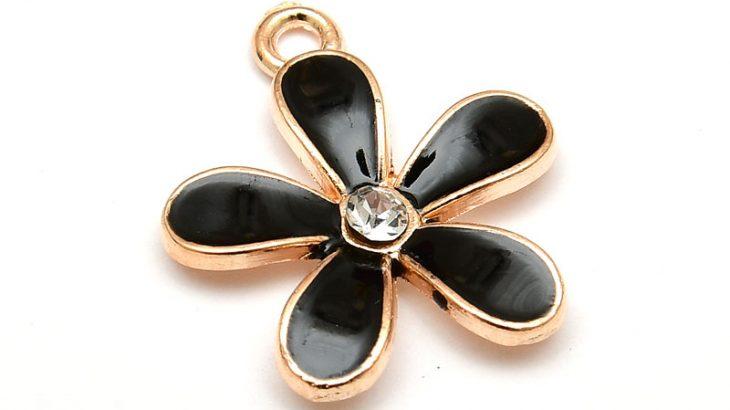Emaljerad berlock, Svart blomma med strass, Ljus guld