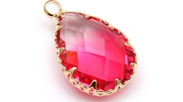 Glashänge med infattning, Rosa/Peach Ljus guld