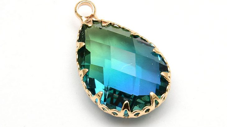 Glashänge med infattning, Blå/Grön Ljus guld