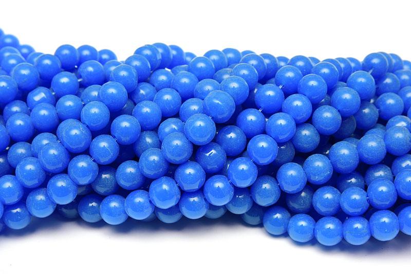 Jadeimitation Runda 10mm Kornblå ca 33st