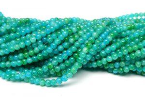 Tvåfärgade glaspärlor Picasso 4mm Grön/turkos