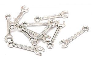 Antiksilver berlocker Skiftnycklar, 10st