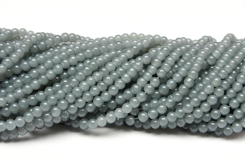 Jadeimitation Runda 4mm Grå