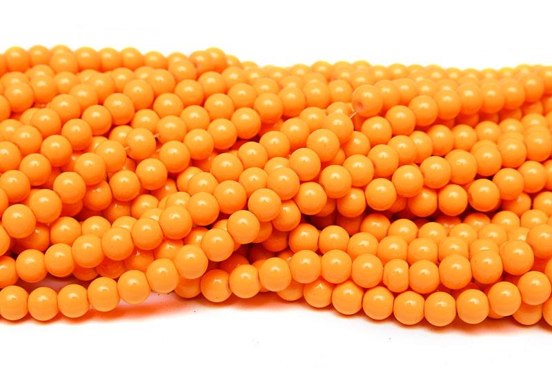 Hel sträng Glaspärlor Runda 6mm Opak Orange