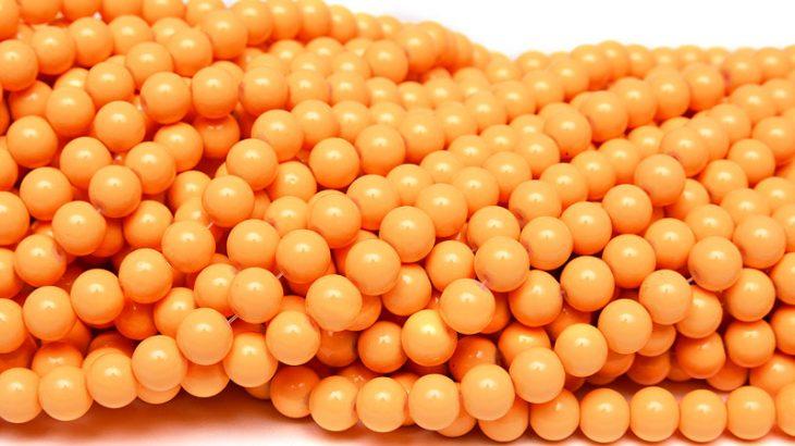 Hel sträng Glaspärlor Runda 8mm Opak Orange