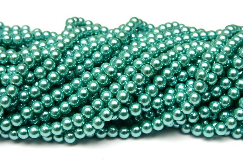 Hel sträng Vaxade glaspärlor 6mm Mint Metallic