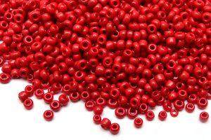 Seed beads 11/0, 2mm, Opak Röd