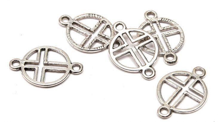 Antiksilver connecter, Cirkel och kors, 5st