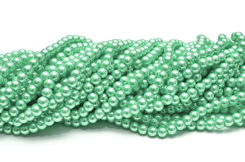 Hel sträng Vaxade glaspärlor 6mm Mintgrön
