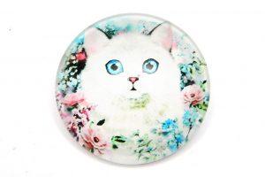 Glascabochon Vit katt med blå ögon 20mm