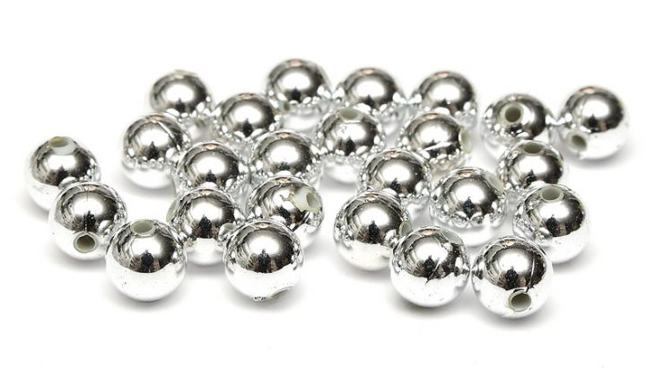 Runda akrylpärlor 8mm Silver