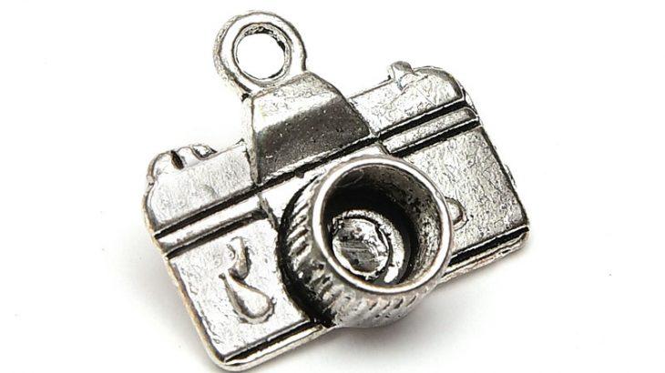 Antiksilver berlock Kamera med plats för strass