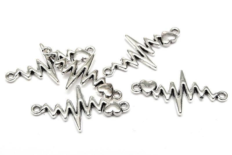 Antiksilver connecter, Hjärtslag EKG (puls), 5st