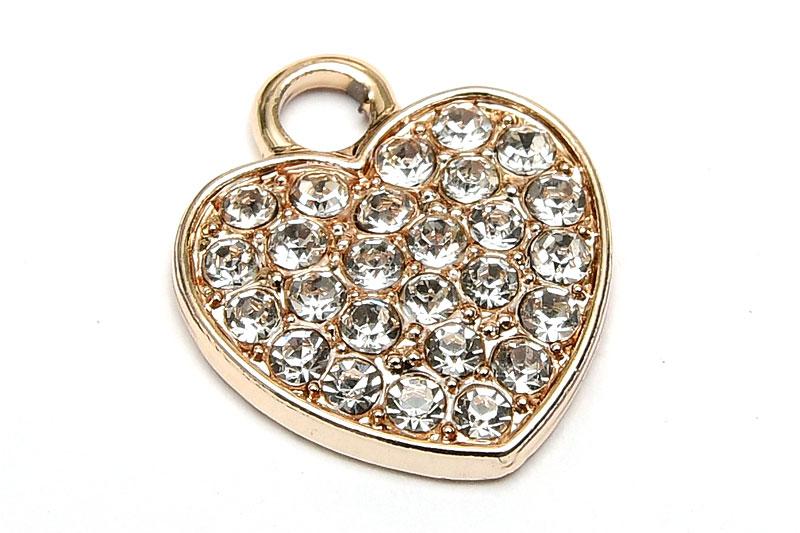 Ljus Guld berlock Hjärta strassfylld