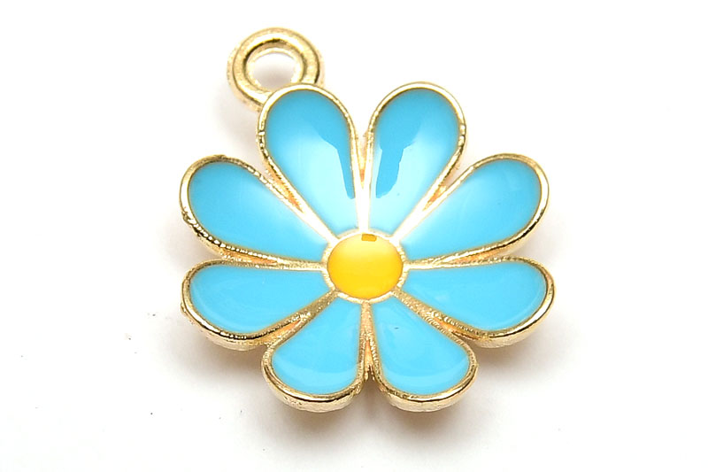 Emaljerad berlock Blå Prästkrage Blomma