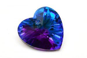 Glasberlock hjärta med pointback, Mörk Blå/Lila