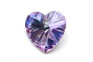 Glasberlock hjärta med pointback, Ljus Blå/Lila