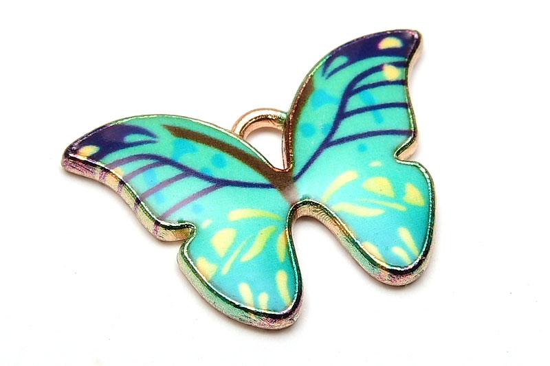 Emaljerad berlock Mintgrön Fjäril