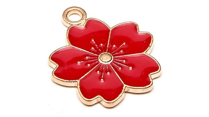 Emaljerad berlock Körsbärsblom Röd