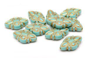 Akrylpärlor med guldmönster, Turkos Romb