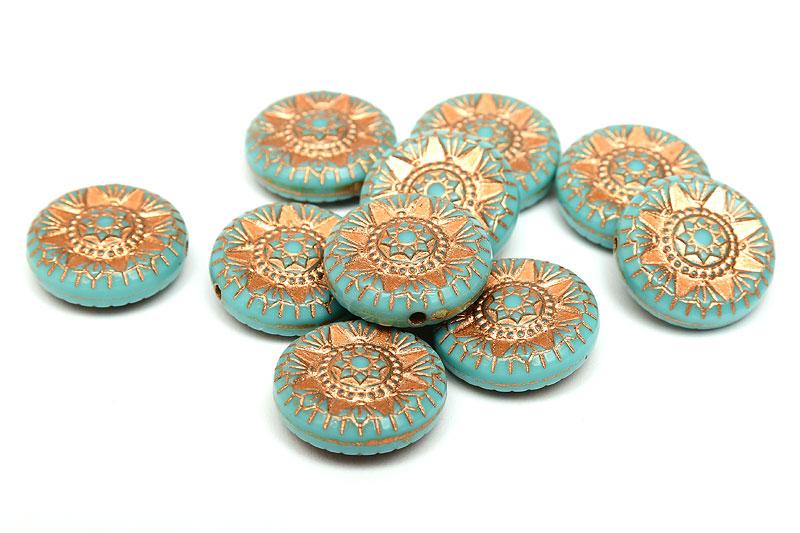 Akrylpärlor med kopparmönster, Rund Turkos