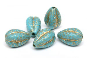 Akrylpärlor med guldmönster, Turkos Droppe