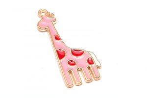 Emaljerad berlock Giraff Rosa