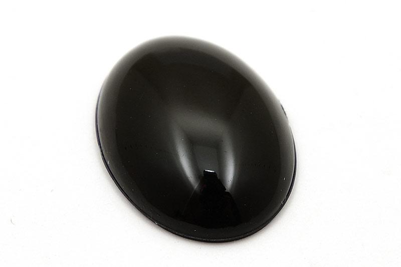 Slät cabochon Oval Svart 25x18mm, Akryl