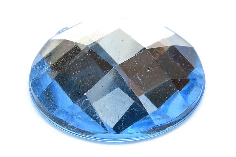 Akrylcabochon Rund 20mm Ljusblå