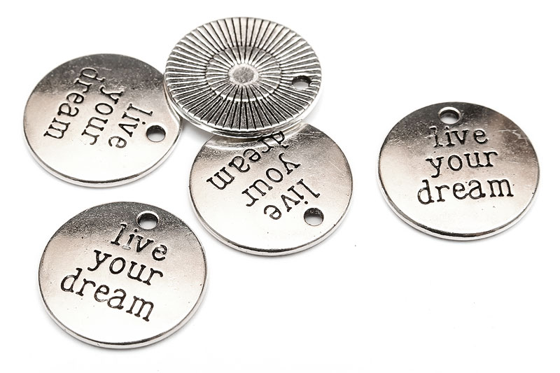 "Antiksilver budskapsbrickor ""Live your dream"""