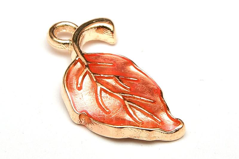 Emaljerad berlock, Orange blad, Ljus guld metall