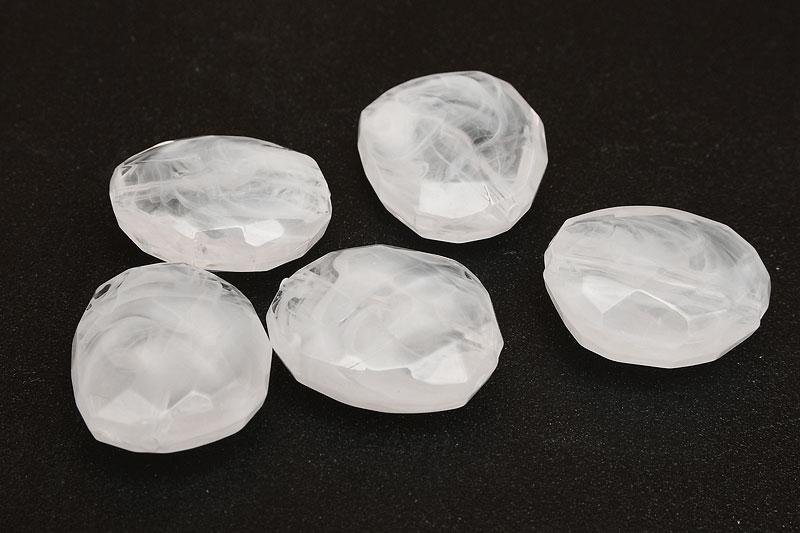 Fasetterade akrylpärlor oregelbunden, Melerade vit/klar