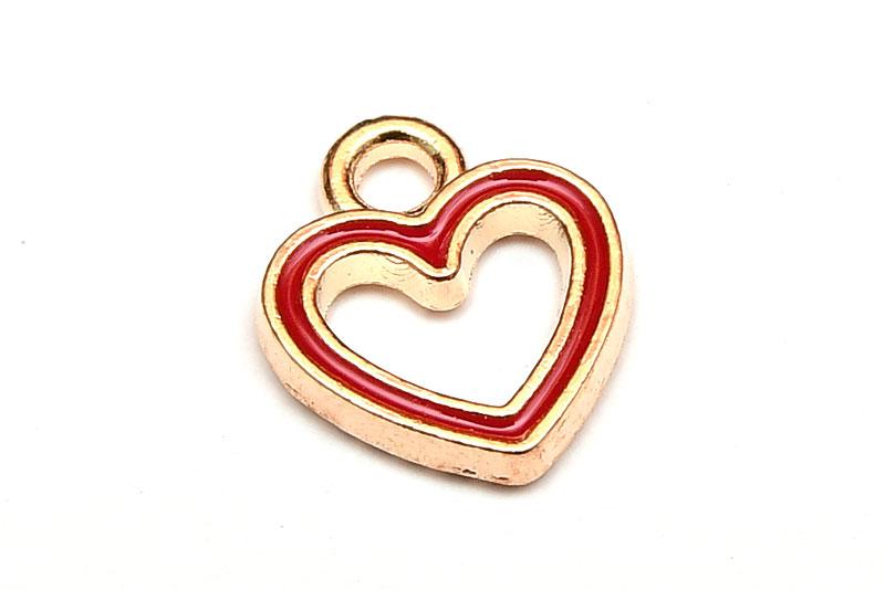 Emaljerad berlock Kontur av hjärta Röd