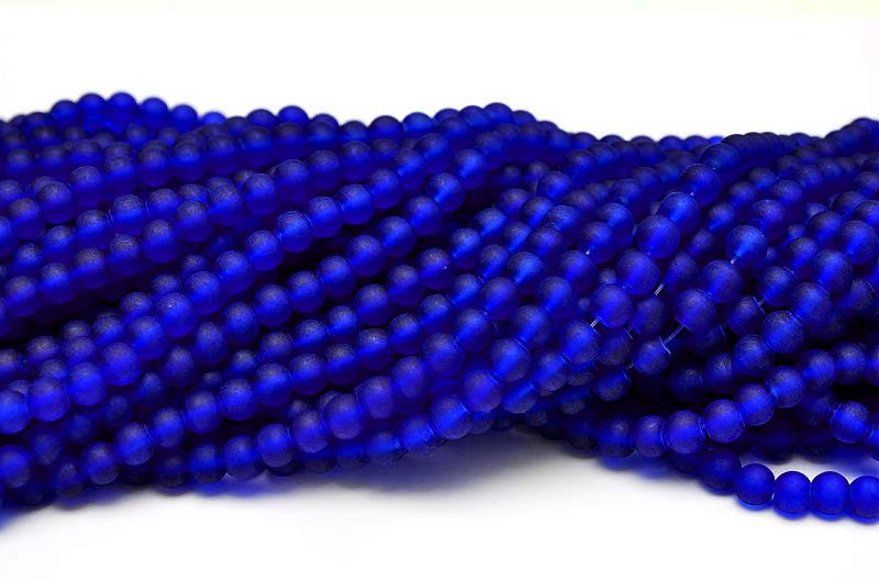Frostade glaspärlor 6mm Mörkblå
