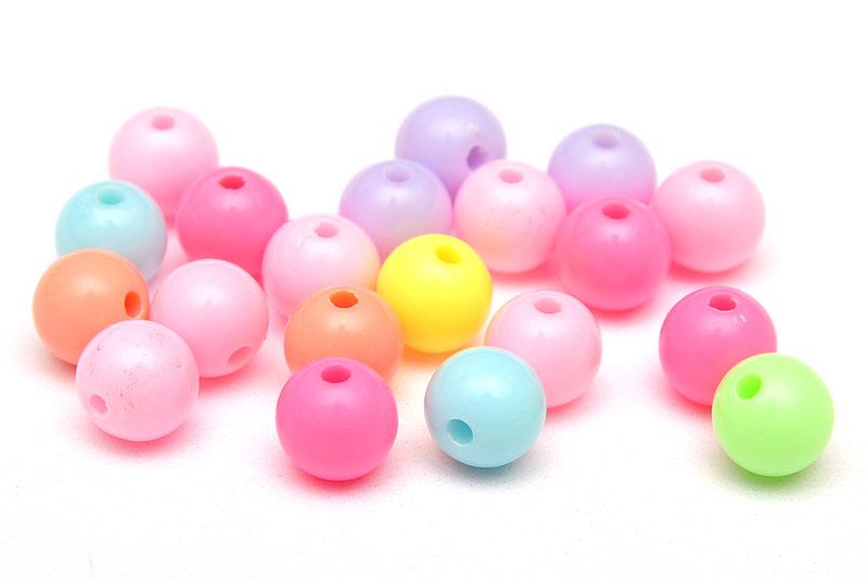 Skarvfria akrylpärlor 7mm PastellMIX, 20st