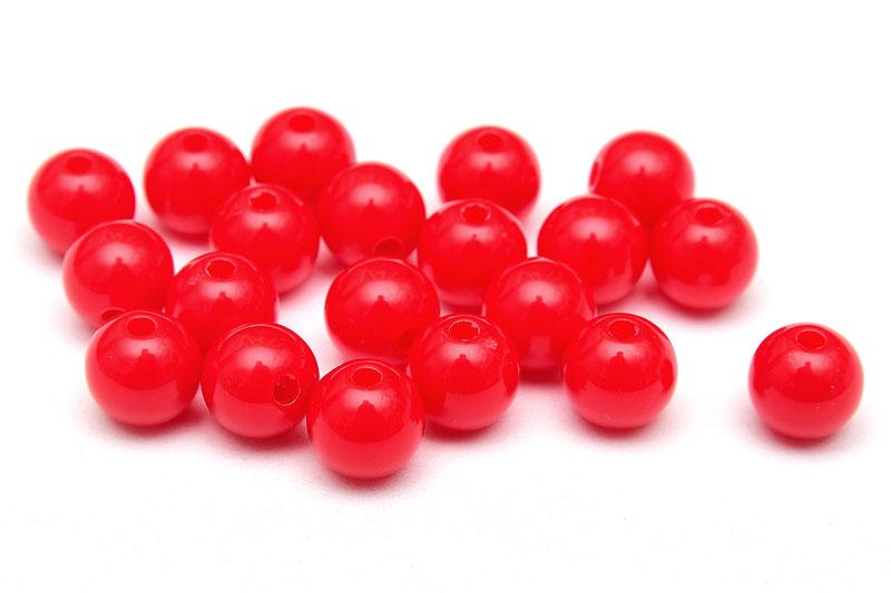 Skarvfria akrylpärlor 7mm Röd, 20st